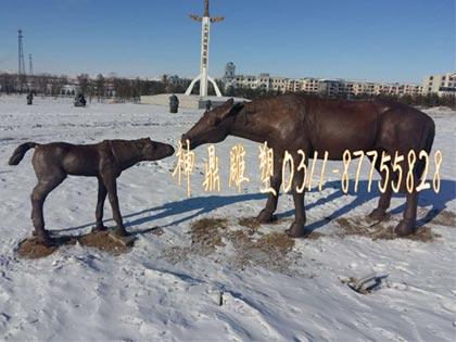 铸铜铸铁马雕塑