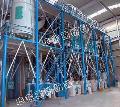 80噸複式磨高方篩鋼架麵粉機