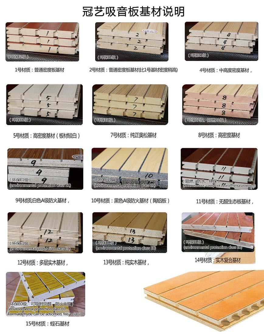 木质吸音板基材说明表